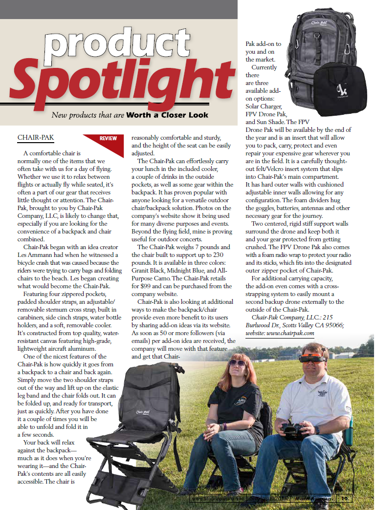 AMA Model Aviation Magazines Chair-Pak Review November Issue 2016